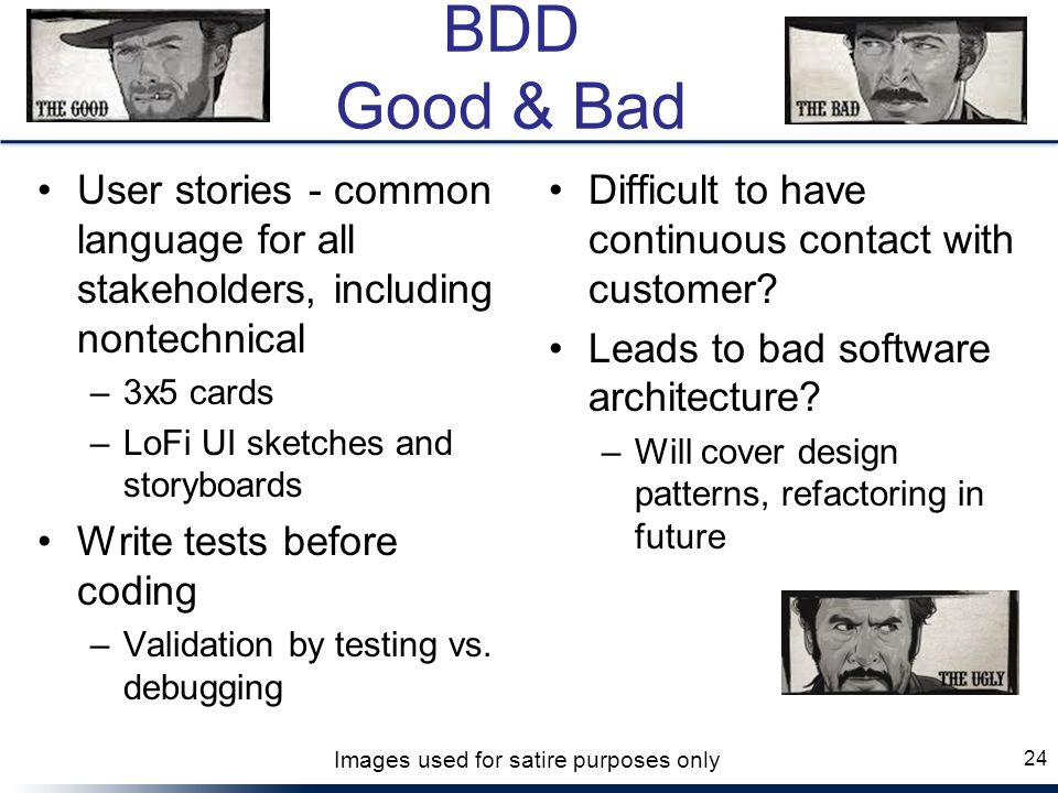 BDD Good & Bad User stories - common language for all stakeholders, including nontechnical. 3x5 cards.