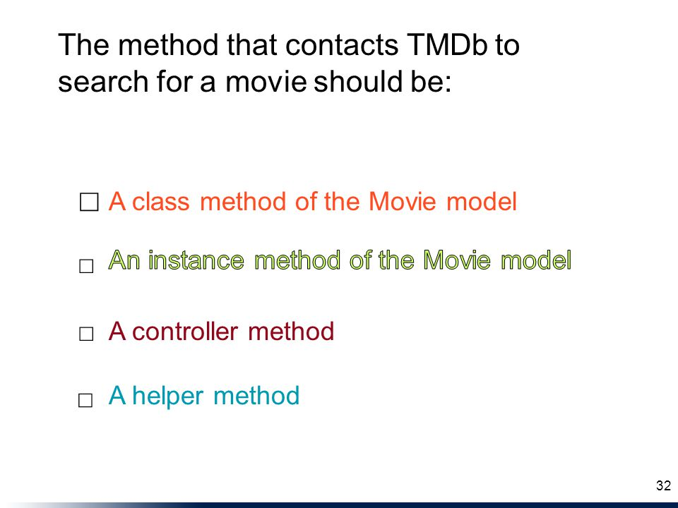 The method that contacts TMDb to search for a movie should be: