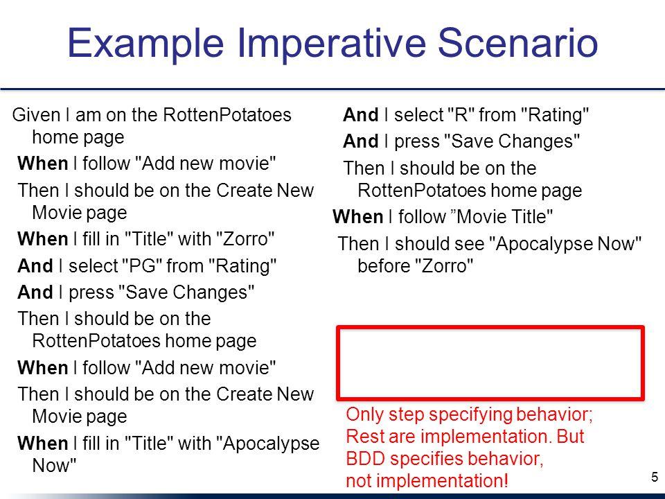 Example Imperative Scenario