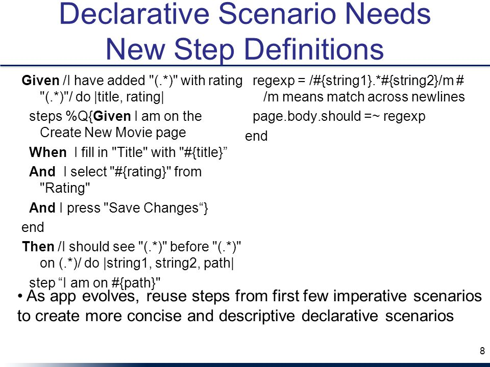 Declarative Scenario Needs New Step Definitions
