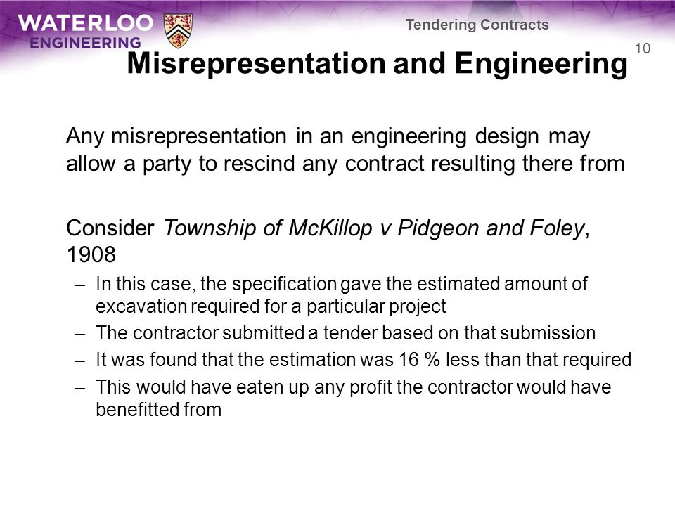 Misrepresentation and Engineering