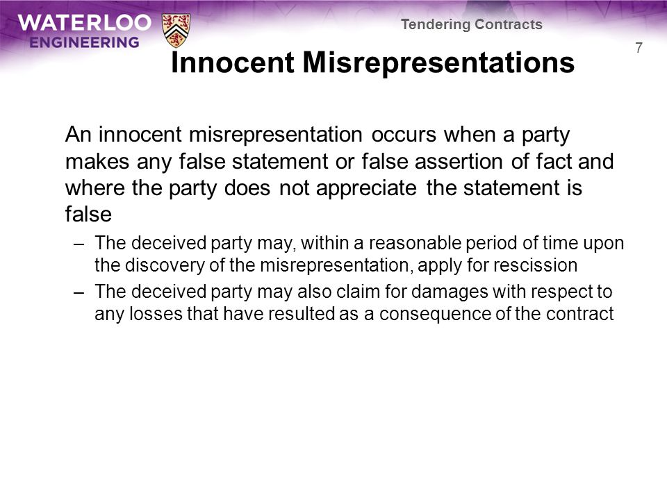 Innocent Misrepresentations