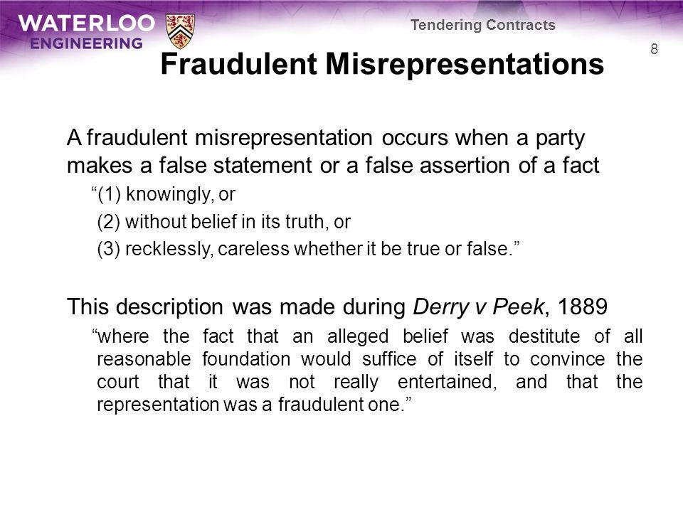 Fraudulent Misrepresentations