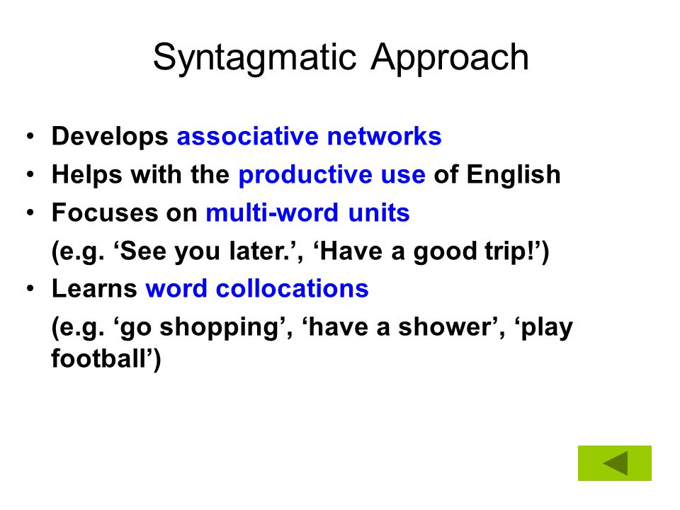 Syntagmatic Approach Develops associative networks