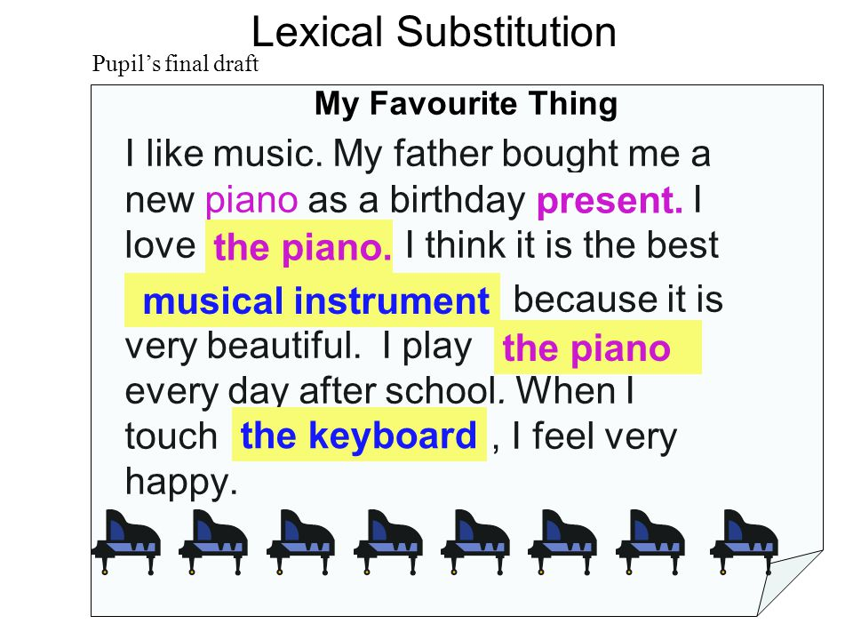 Too many pianos Lexical Substitution