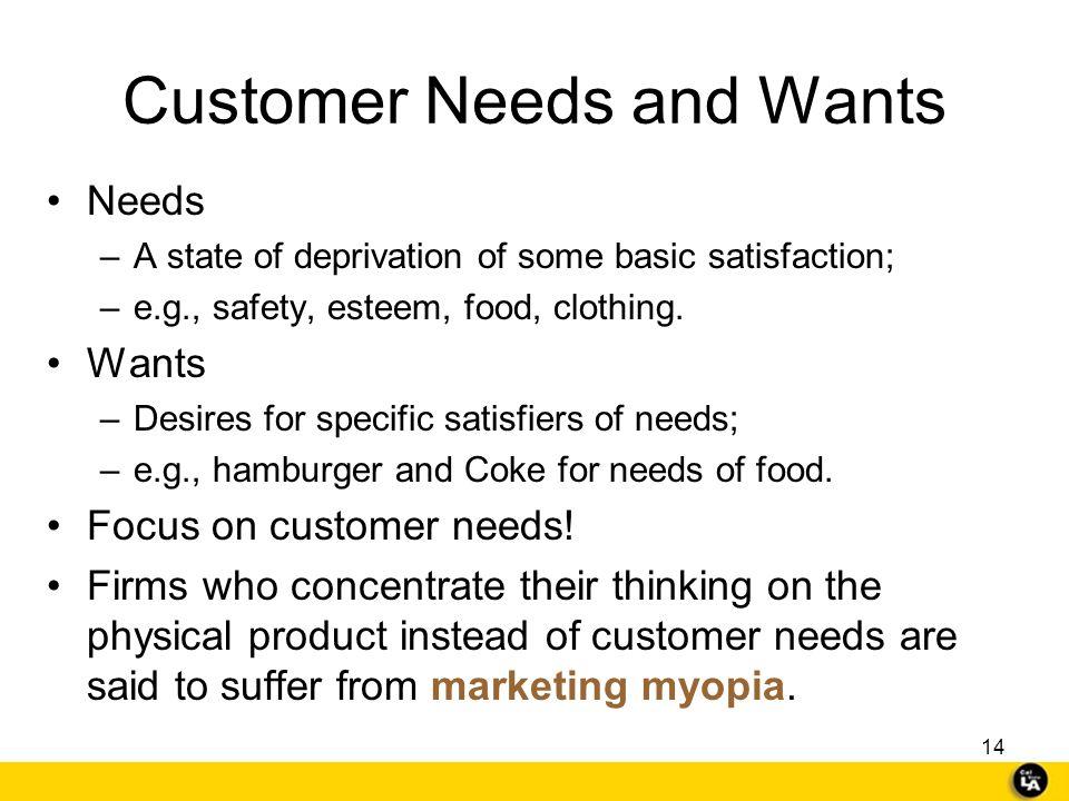 Customer Needs and Wants