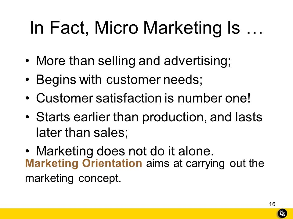 In Fact, Micro Marketing Is …