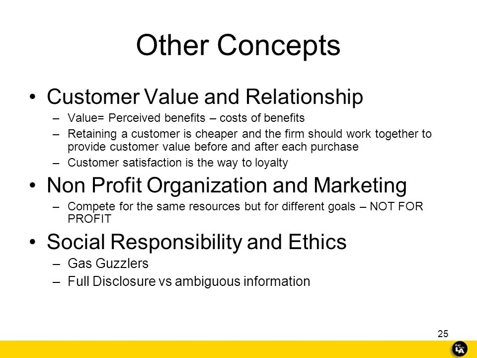Other Concepts Customer Value and Relationship