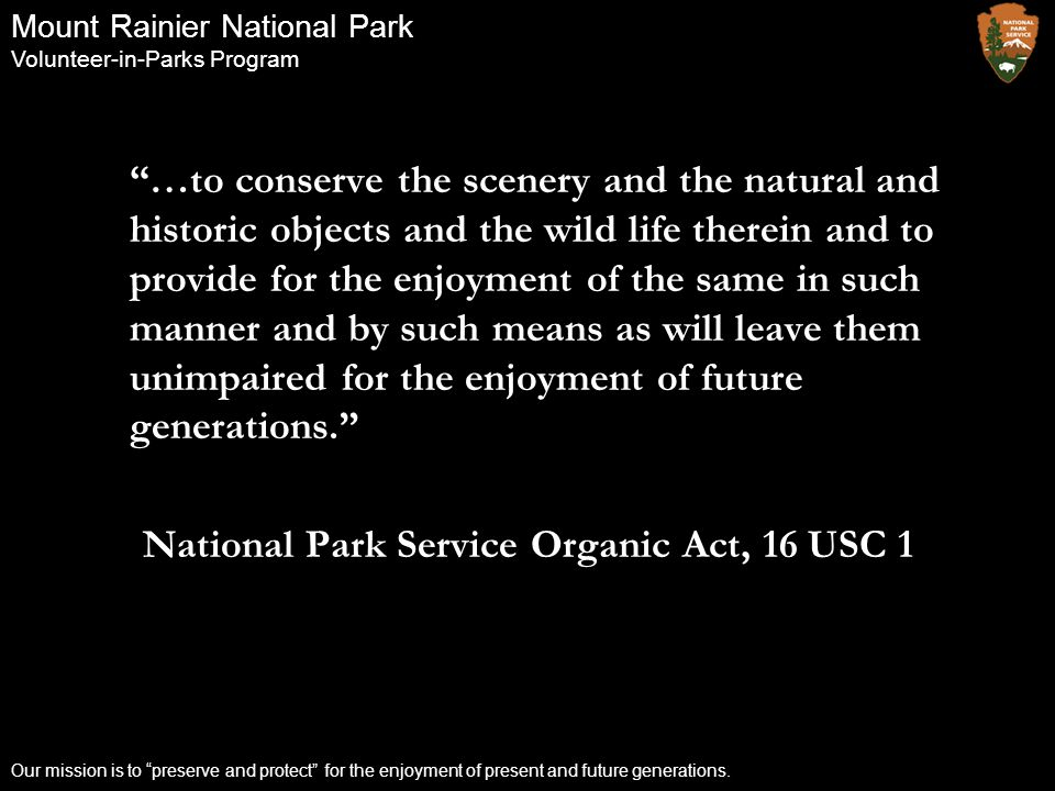 National Park Service Organic Act, 16 USC 1