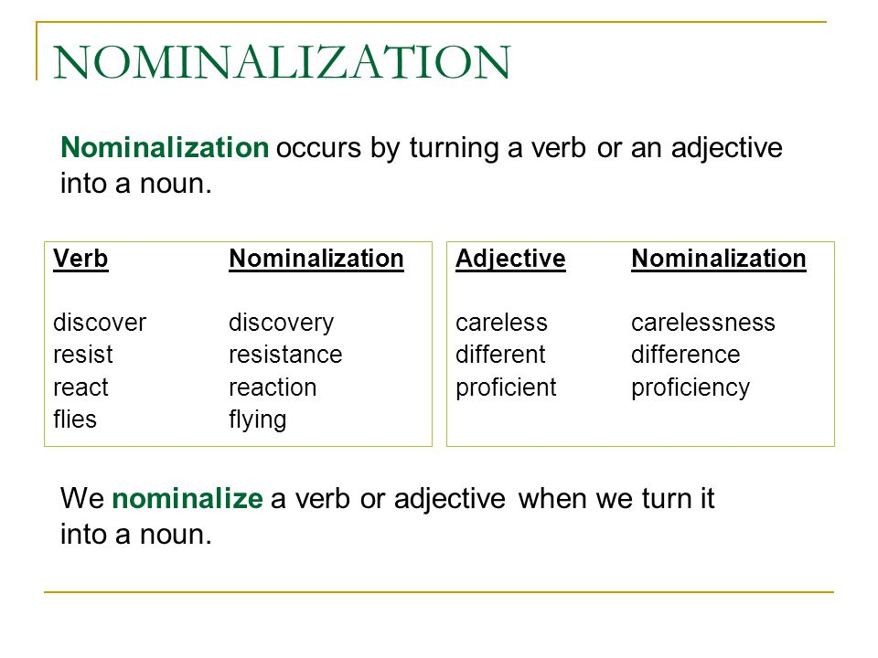 NOMINALIZATION Nominalization occurs by turning a verb or an adjective into a noun. Verb Nominalization.