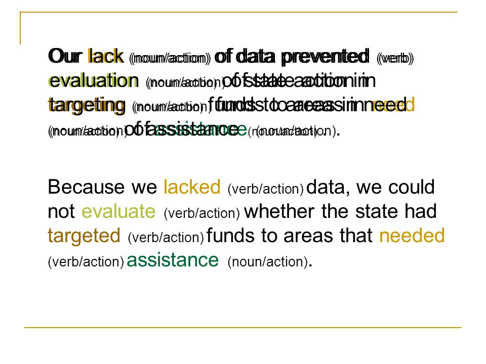 Our lack (noun/action) of data prevented (verb) evaluation (noun/action) of state action in targeting (noun/action) funds to areas in need (noun/action) of assistance (noun/action).
