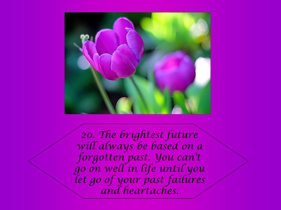 20. The brightest future will always be based on a forgotten past