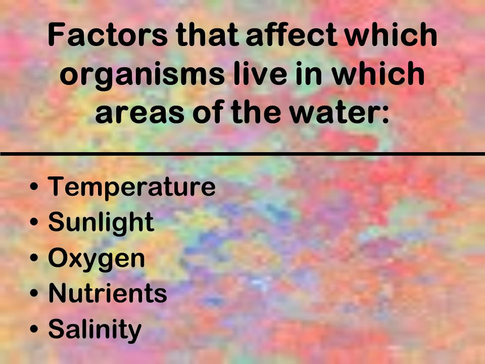 Factors that affect which organisms live in which areas of the water: