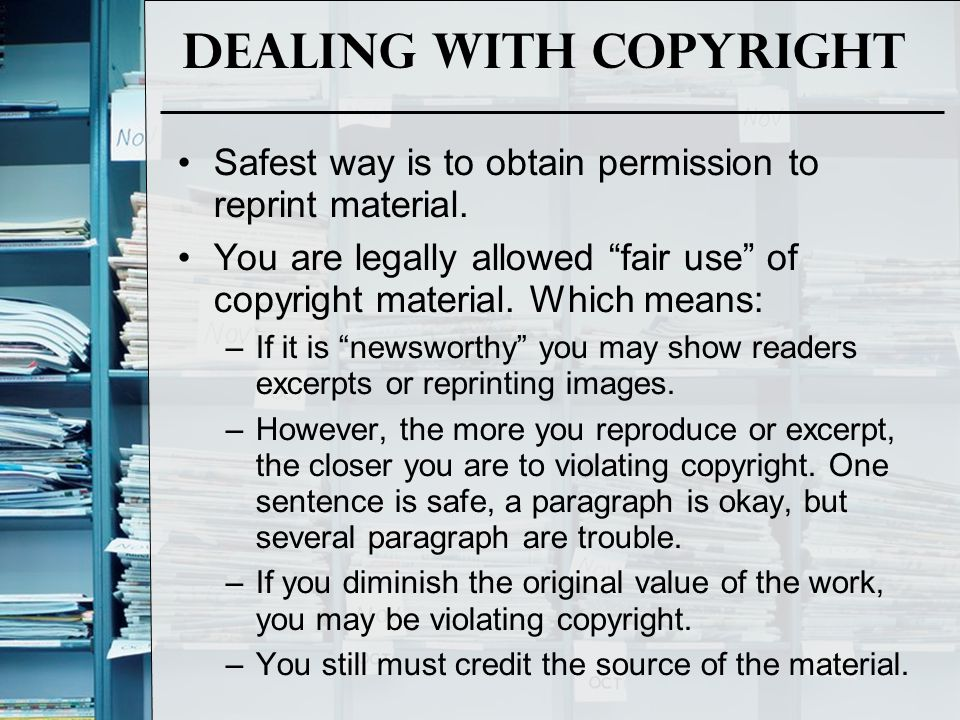 Dealing with copyright