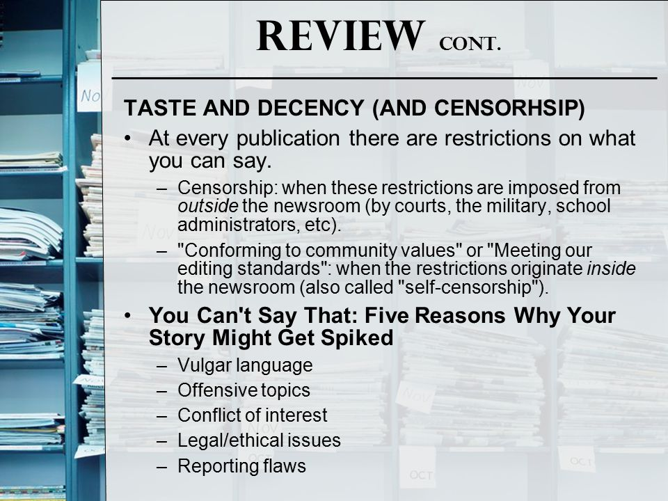Review cont. TASTE AND DECENCY (AND CENSORHSIP)