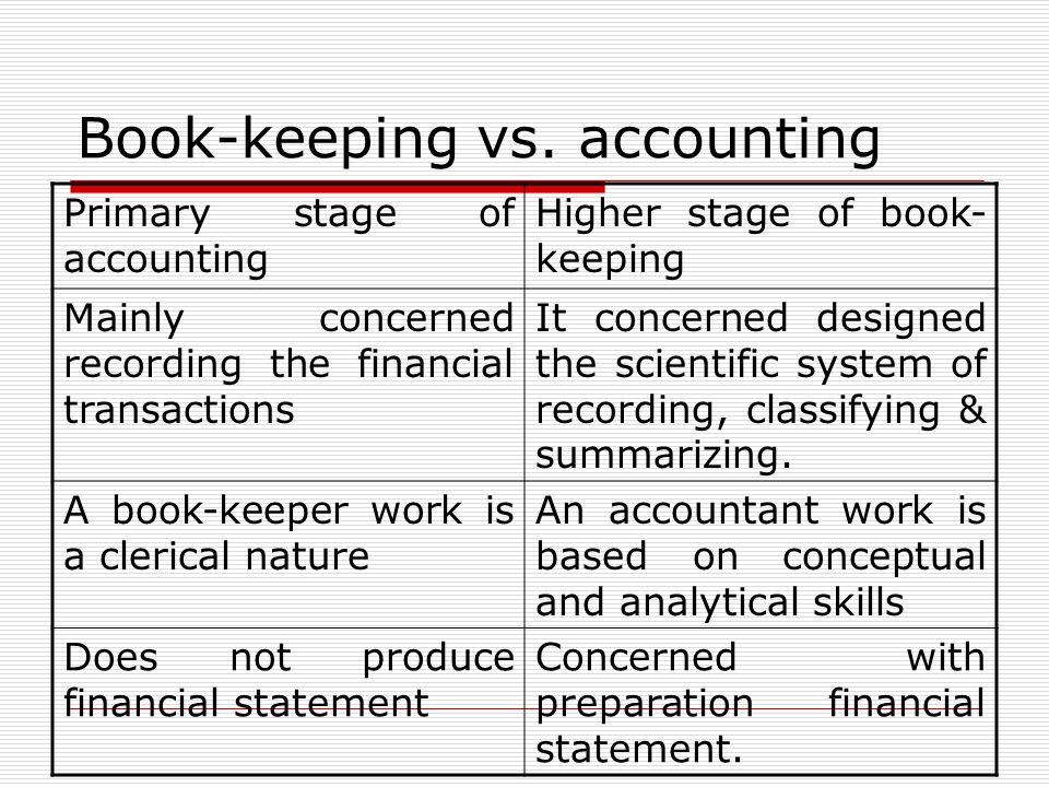 Book-keeping vs. accounting