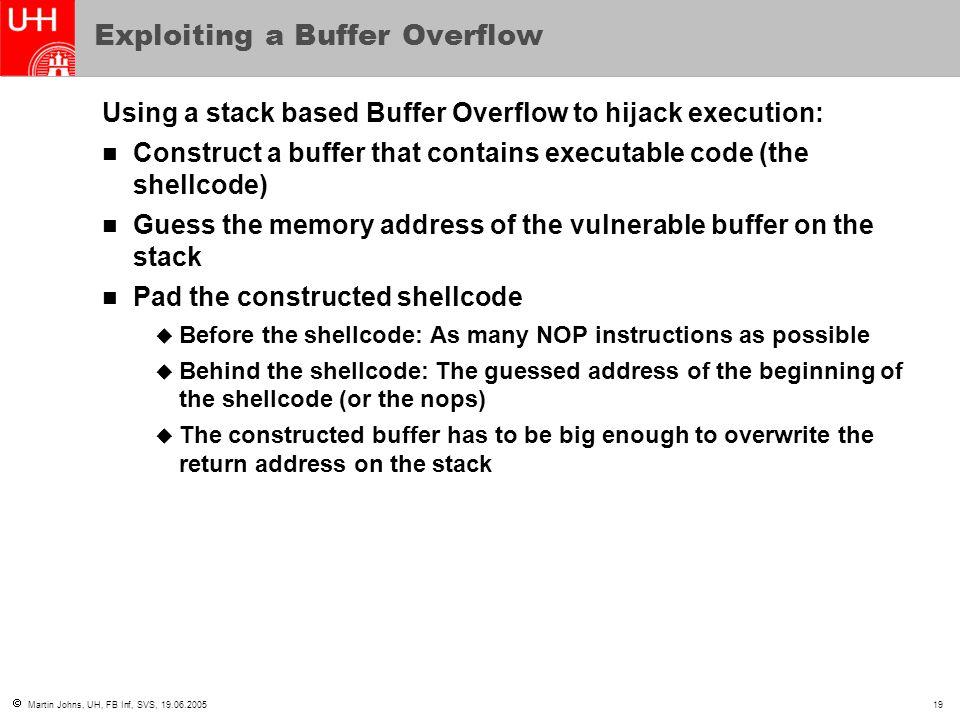 Exploiting a Buffer Overflow