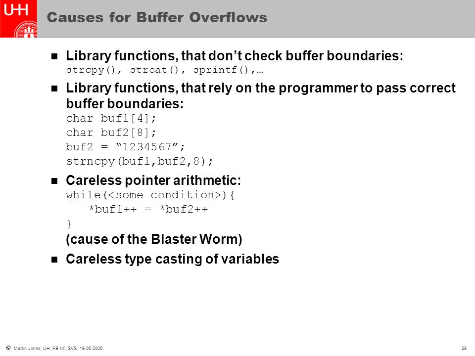 Causes for Buffer Overflows