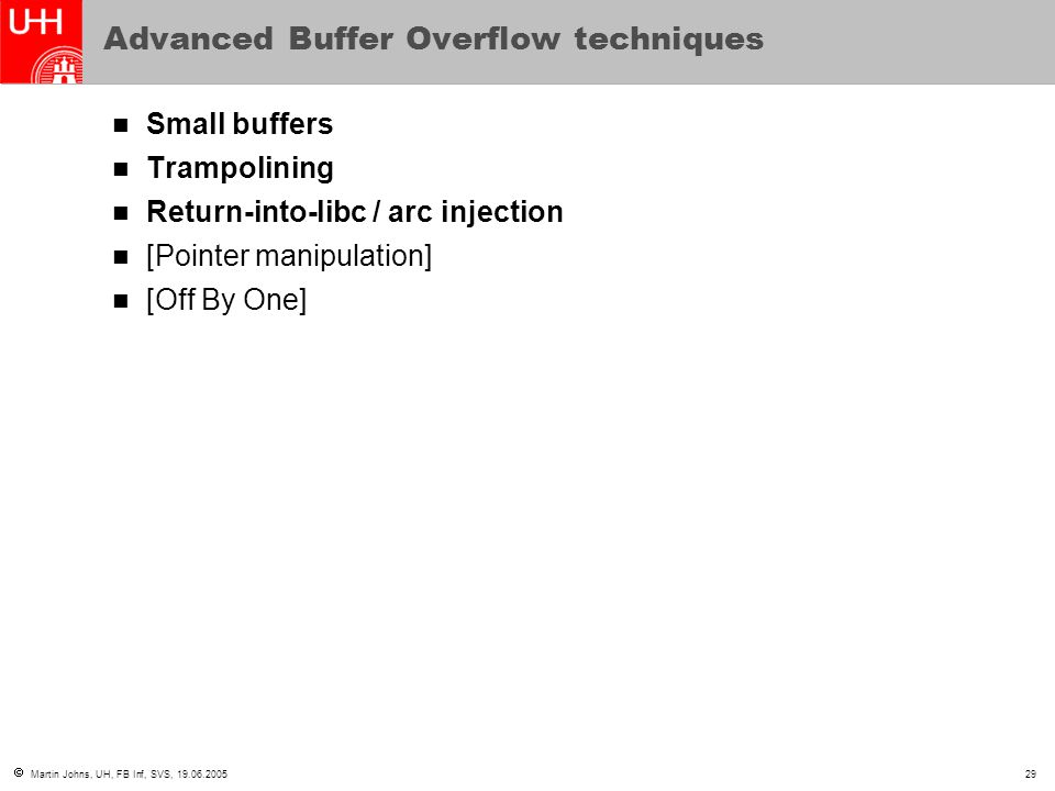 Advanced Buffer Overflow techniques