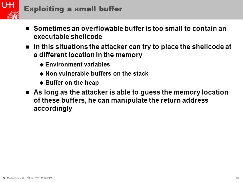 Exploiting a small buffer