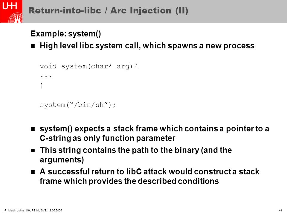 Return-into-libc / Arc Injection (II)