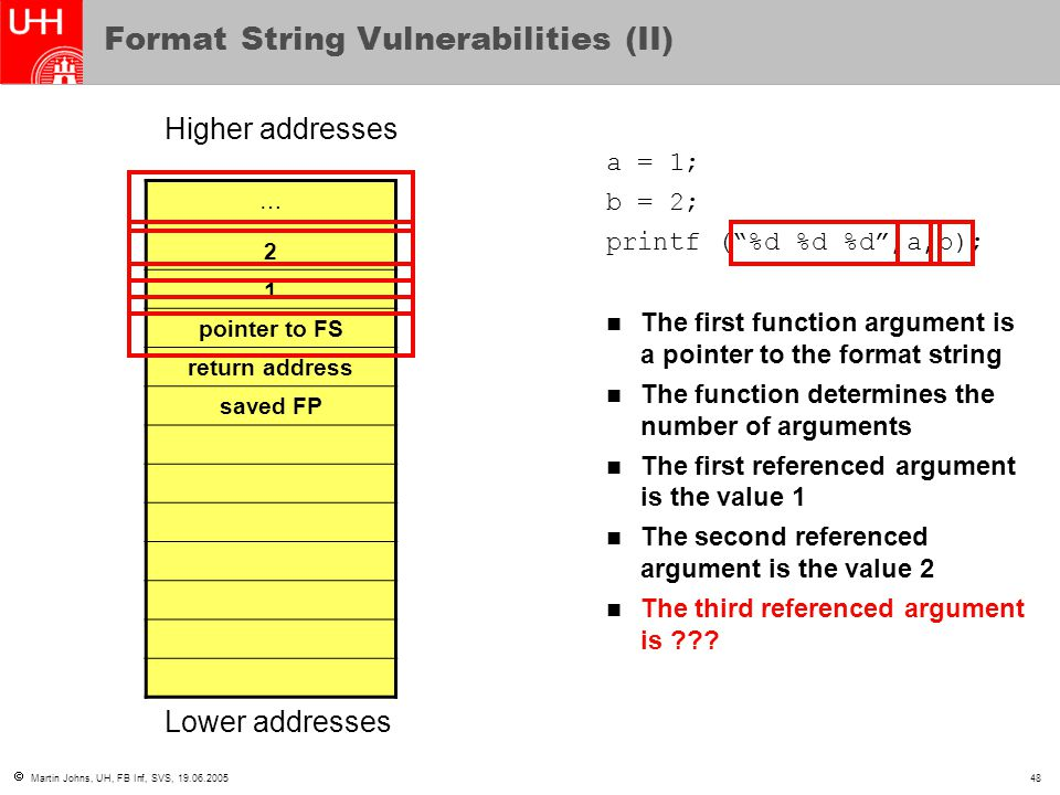 Format String Vulnerabilities (II)