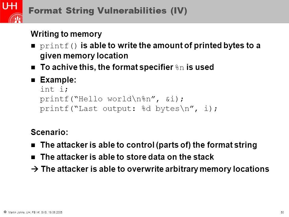 Format String Vulnerabilities (IV)