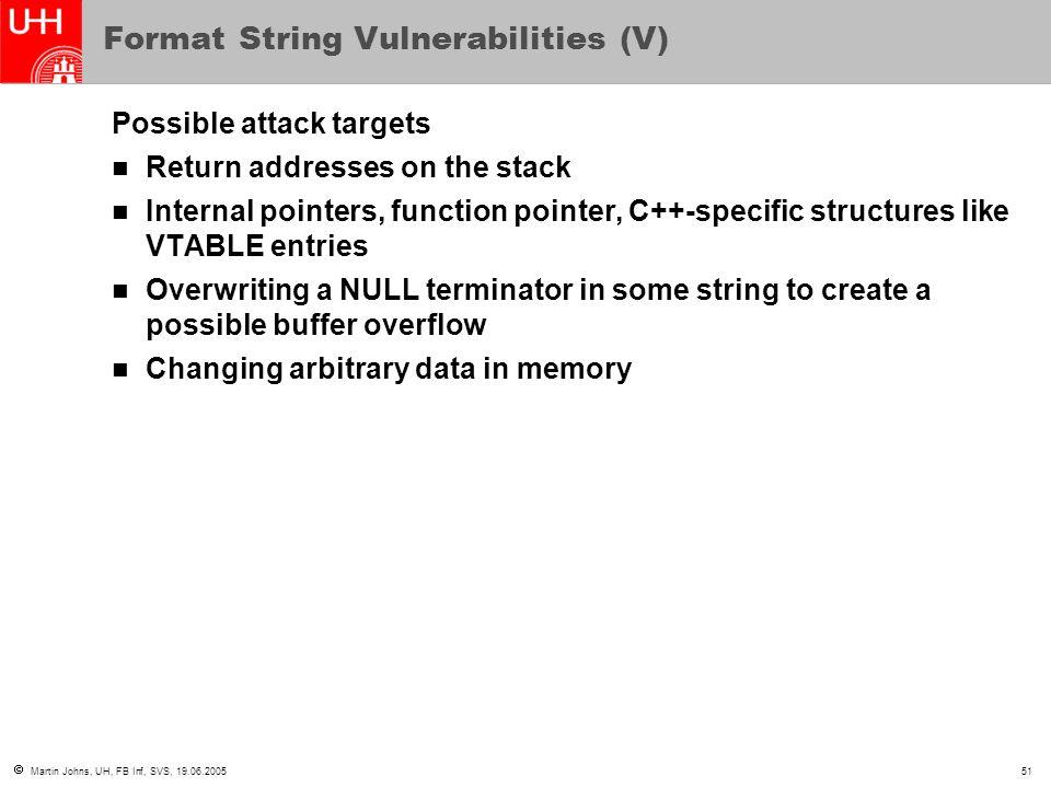 Format String Vulnerabilities (V)