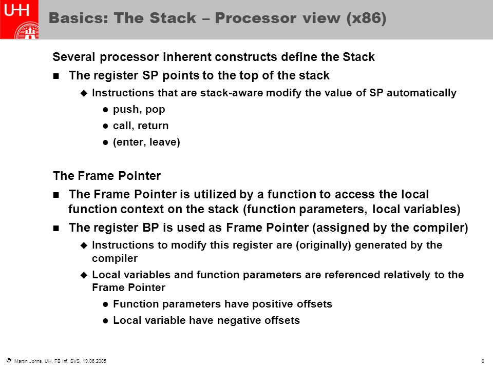 Basics: The Stack – Processor view (x86)