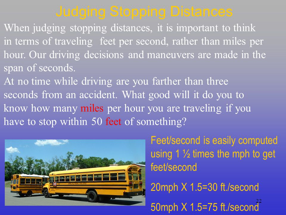 Judging Stopping Distances