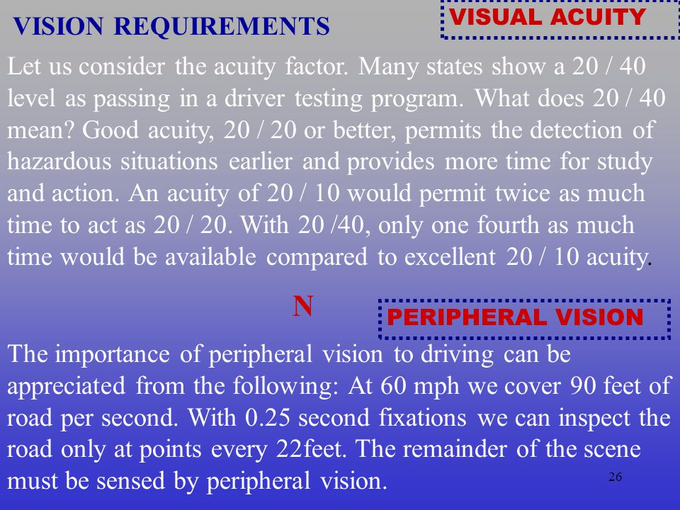 VISUAL ACUITY VISION REQUIREMENTS.
