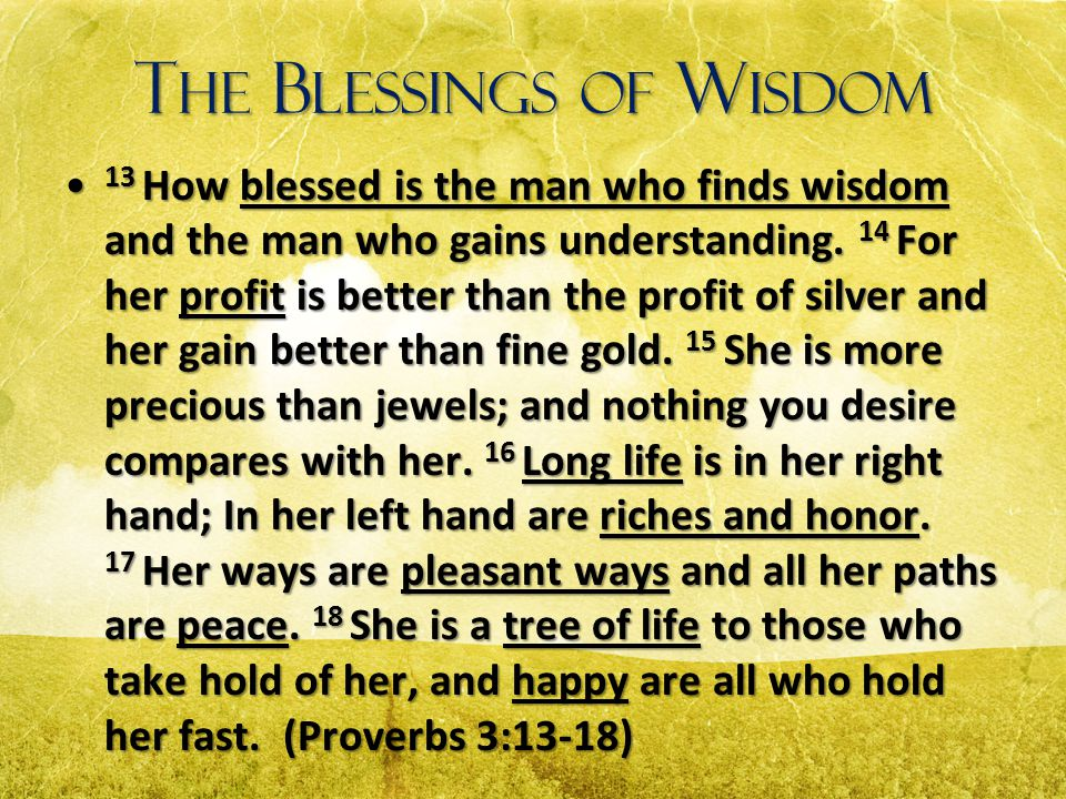 The Blessings of Wisdom