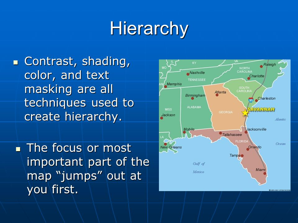 Hierarchy Contrast, shading, color, and text masking are all techniques used to create hierarchy.