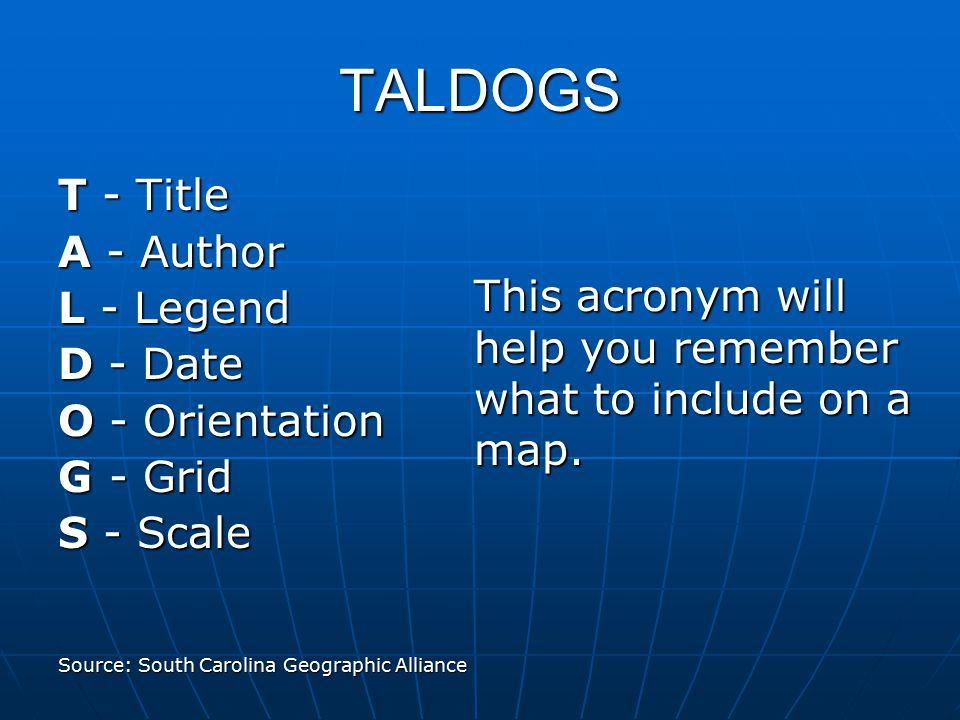 TALDOGS T - Title A - Author L - Legend D - Date