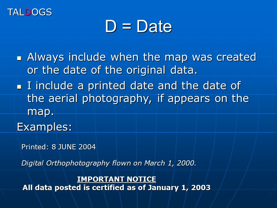 All data posted is certified as of January 1, 2003