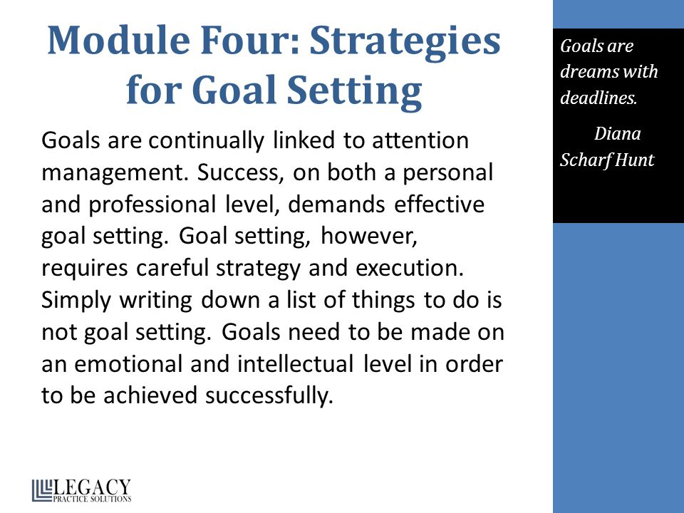 Module Four: Strategies for Goal Setting