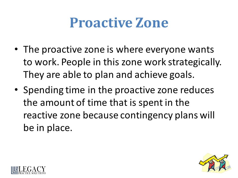 Proactive Zone The proactive zone is where everyone wants to work. People in this zone work strategically. They are able to plan and achieve goals.
