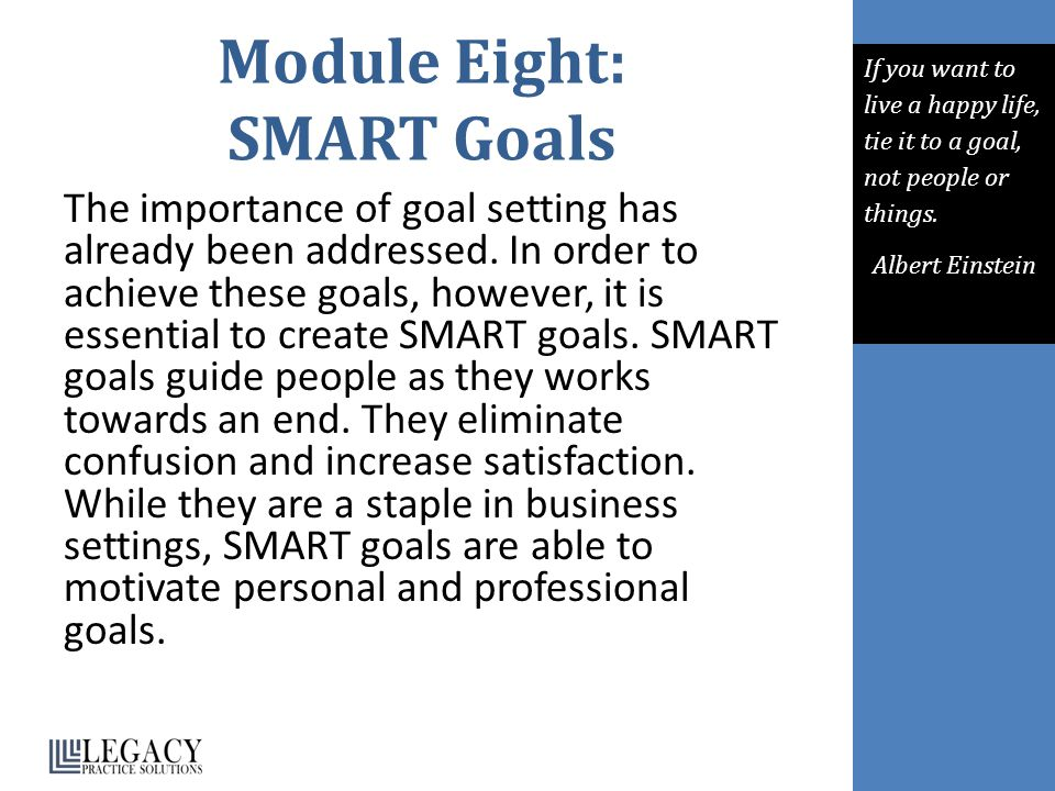 Module Eight: SMART Goals