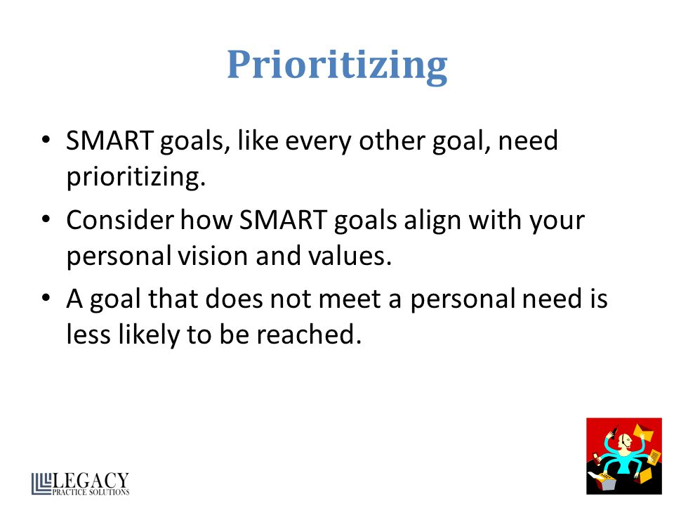 Prioritizing SMART goals, like every other goal, need prioritizing.