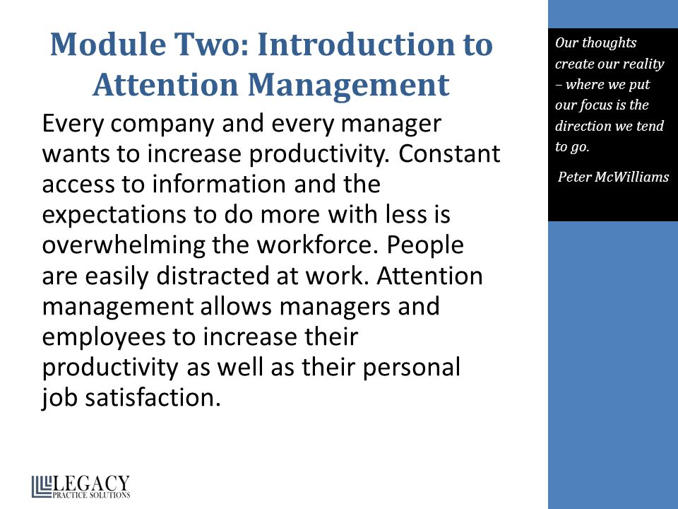 Module Two: Introduction to Attention Management