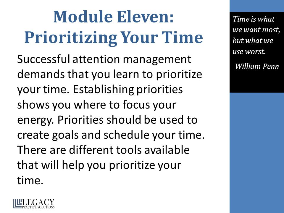 Module Eleven: Prioritizing Your Time