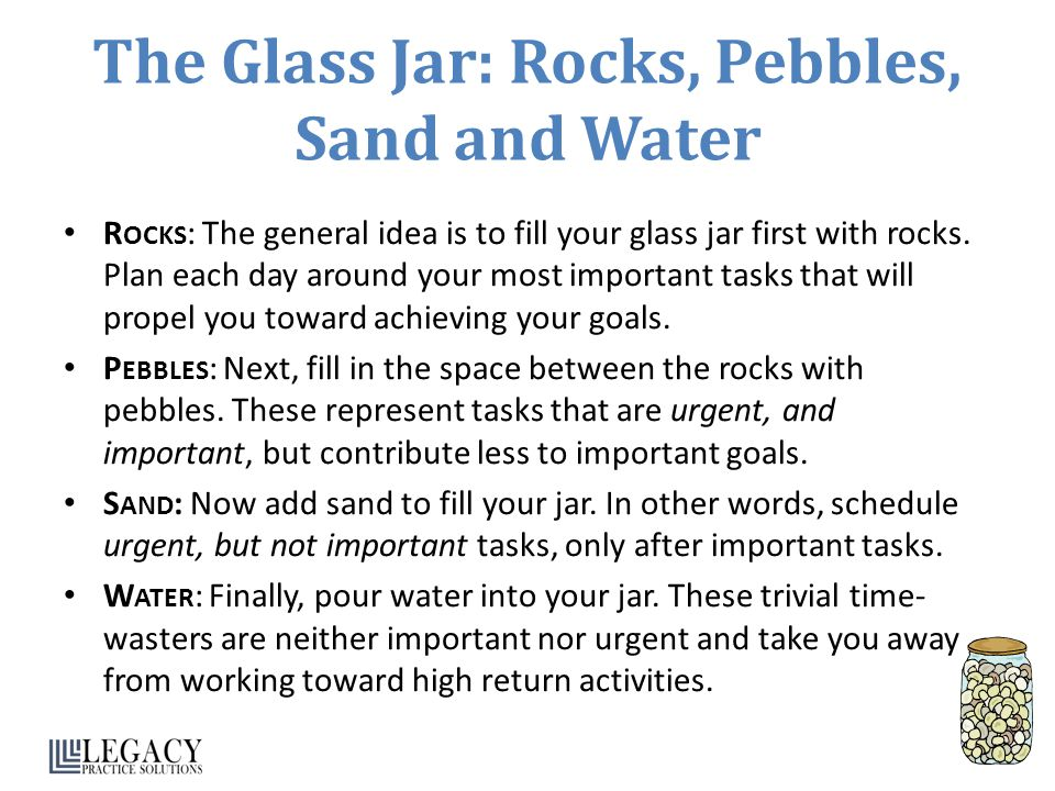 The Glass Jar: Rocks, Pebbles, Sand and Water