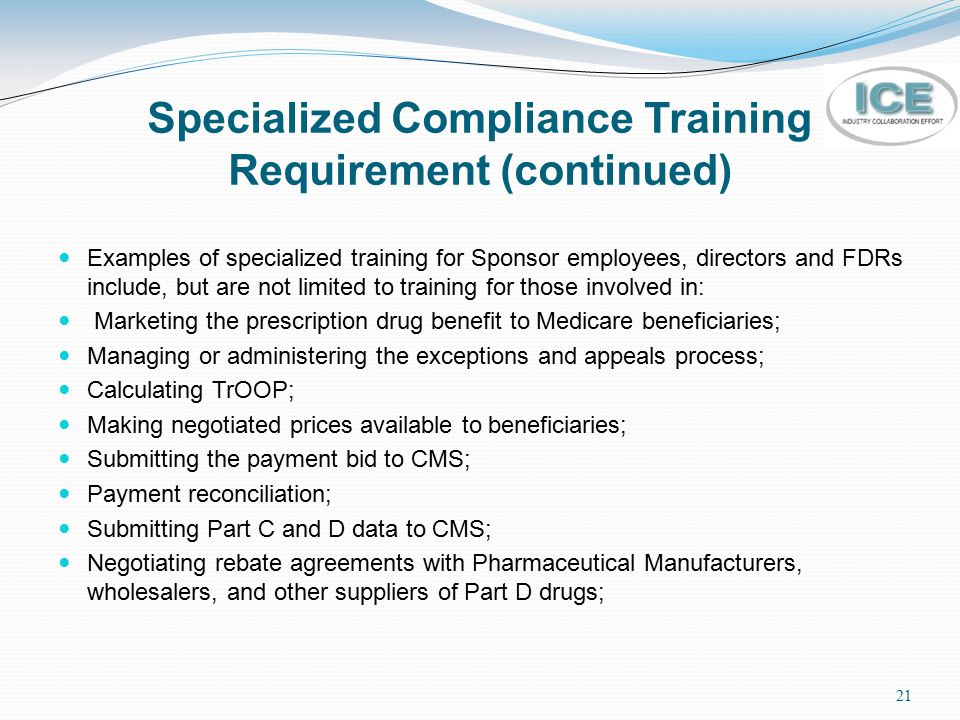 Specialized Compliance Training Requirement (continued)