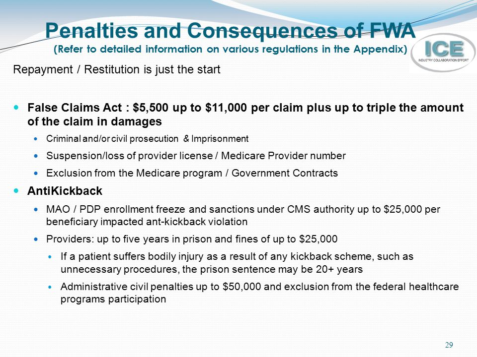 Penalties and Consequences of FWA (Refer to detailed information on various regulations in the Appendix)