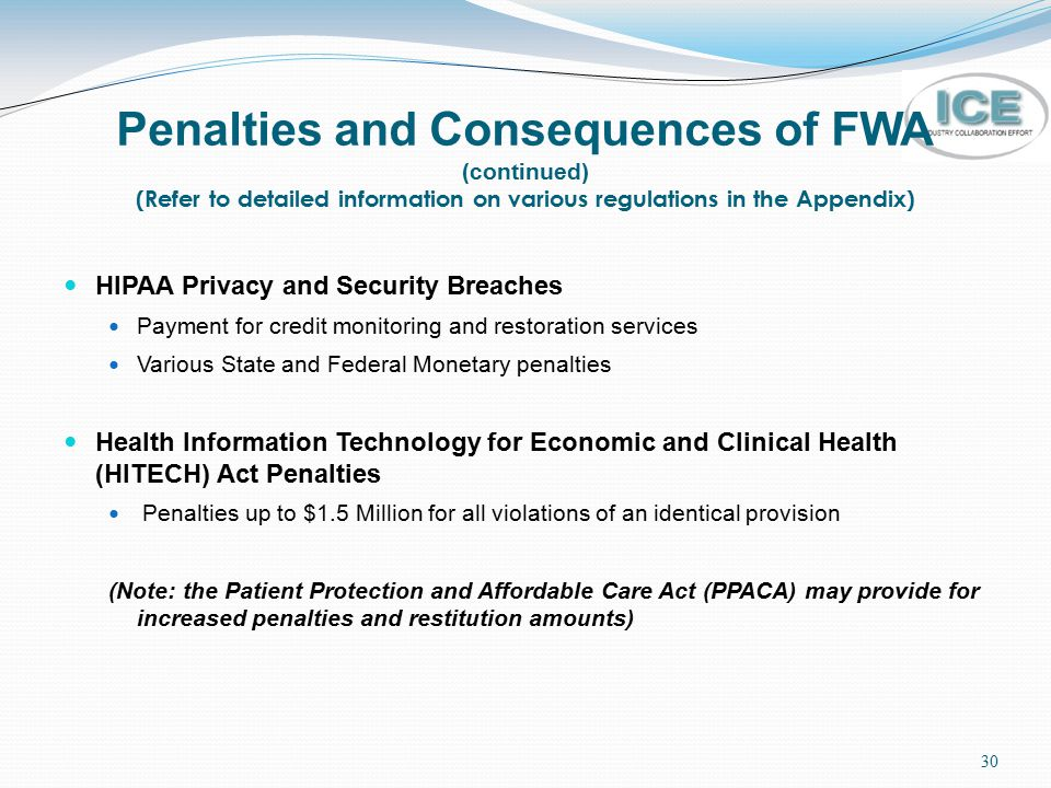 Penalties and Consequences of FWA (continued) (Refer to detailed information on various regulations in the Appendix)