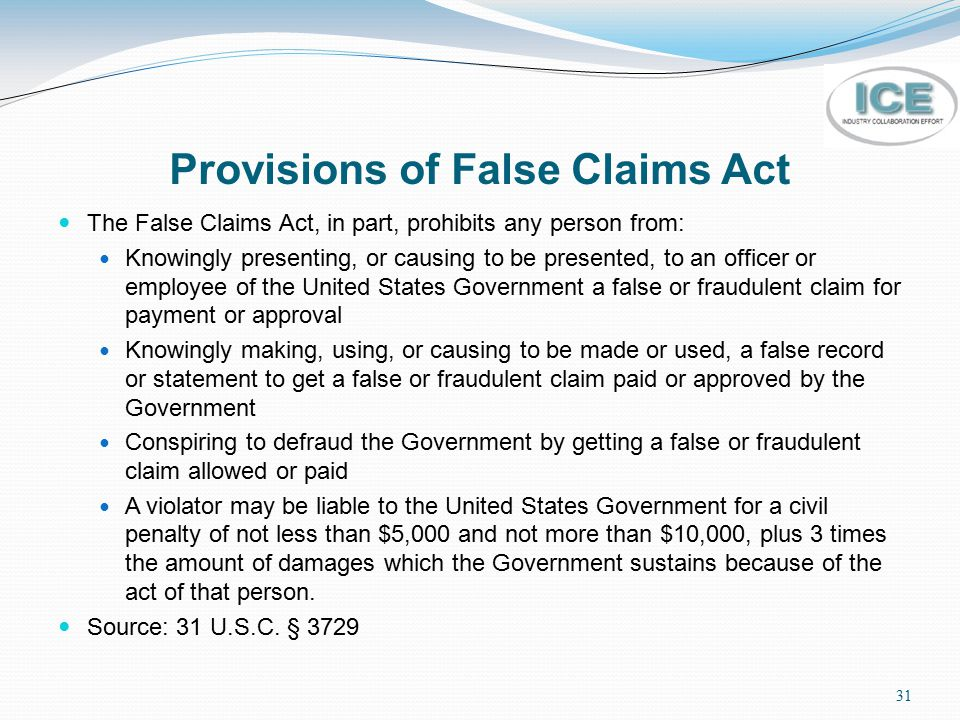 Provisions of False Claims Act