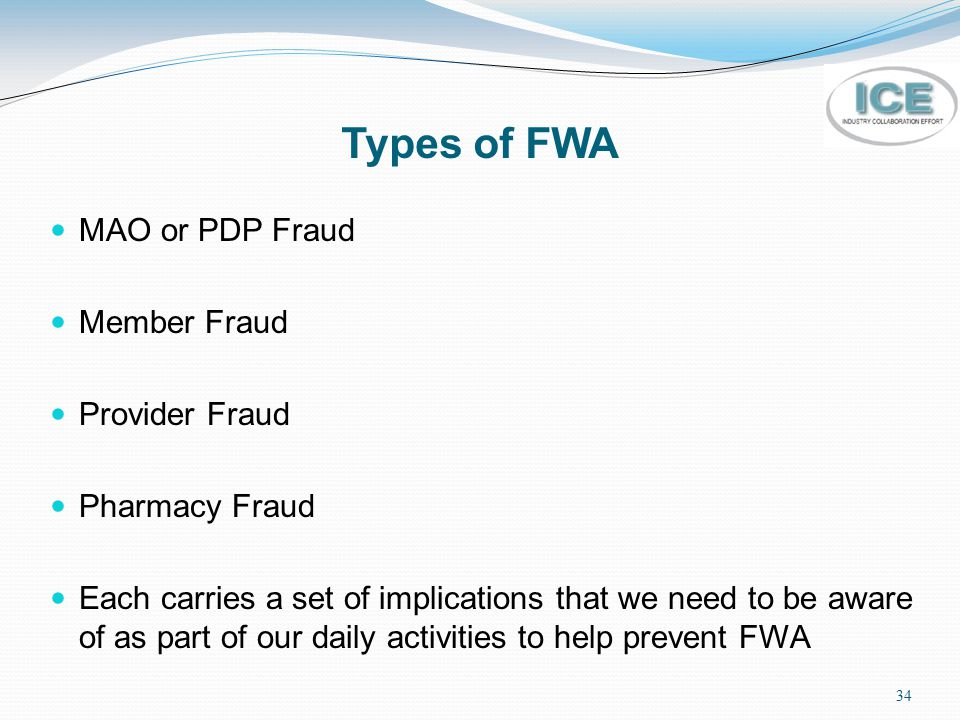 Types of FWA MAO or PDP Fraud Member Fraud Provider Fraud