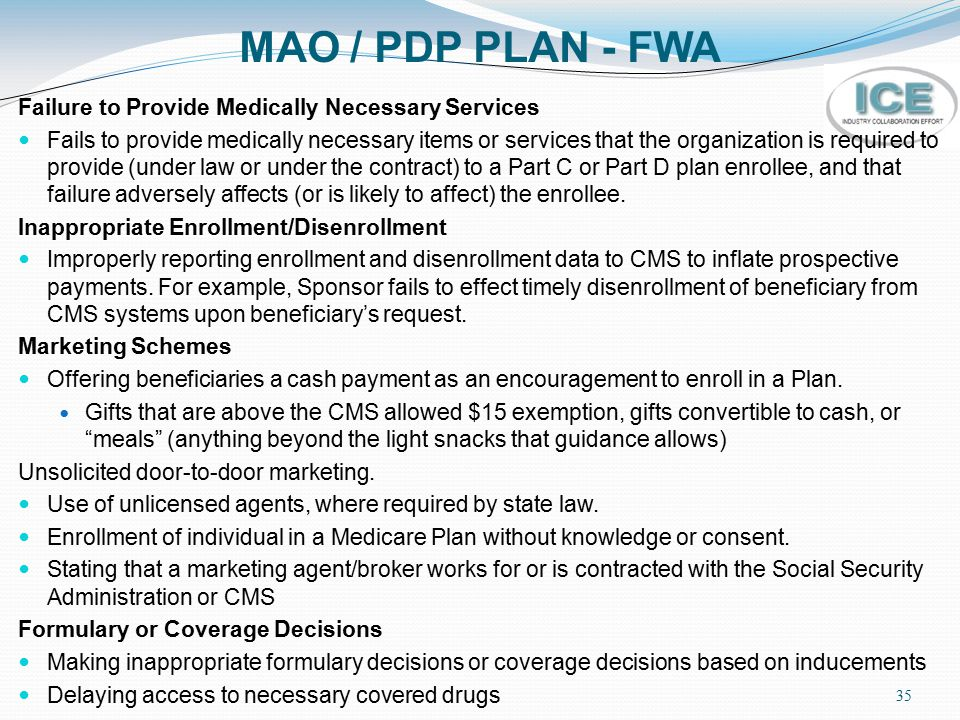 MAO / PDP PLAN - FWA Failure to Provide Medically Necessary Services