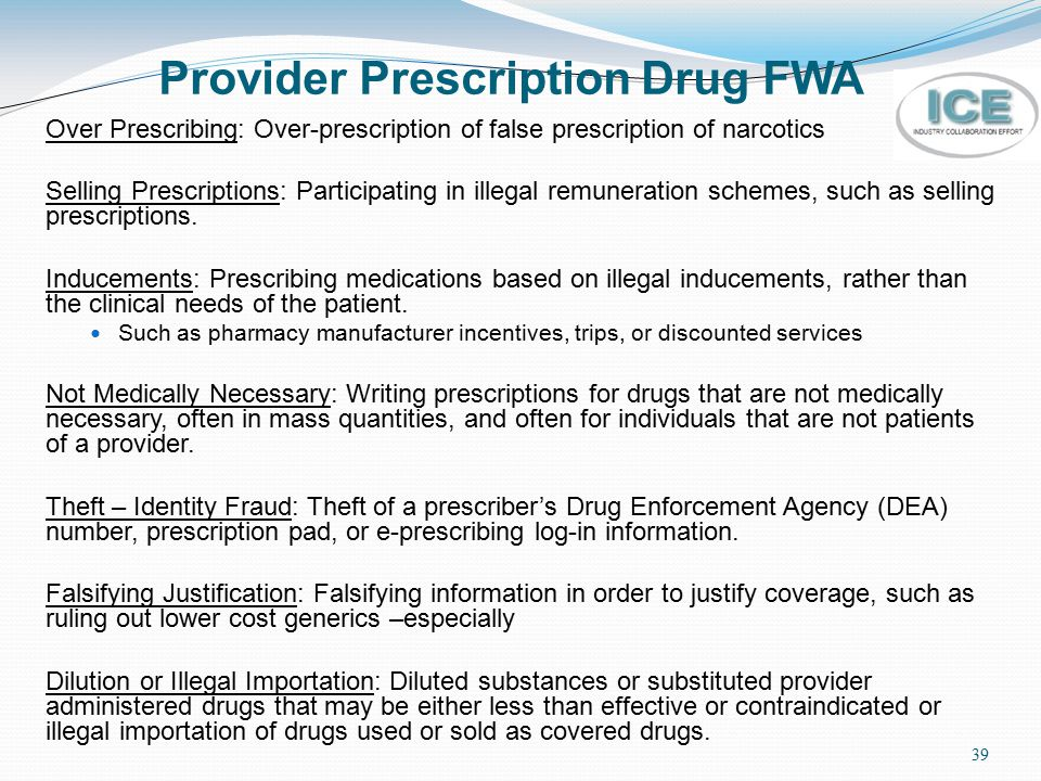 Provider Prescription Drug FWA
