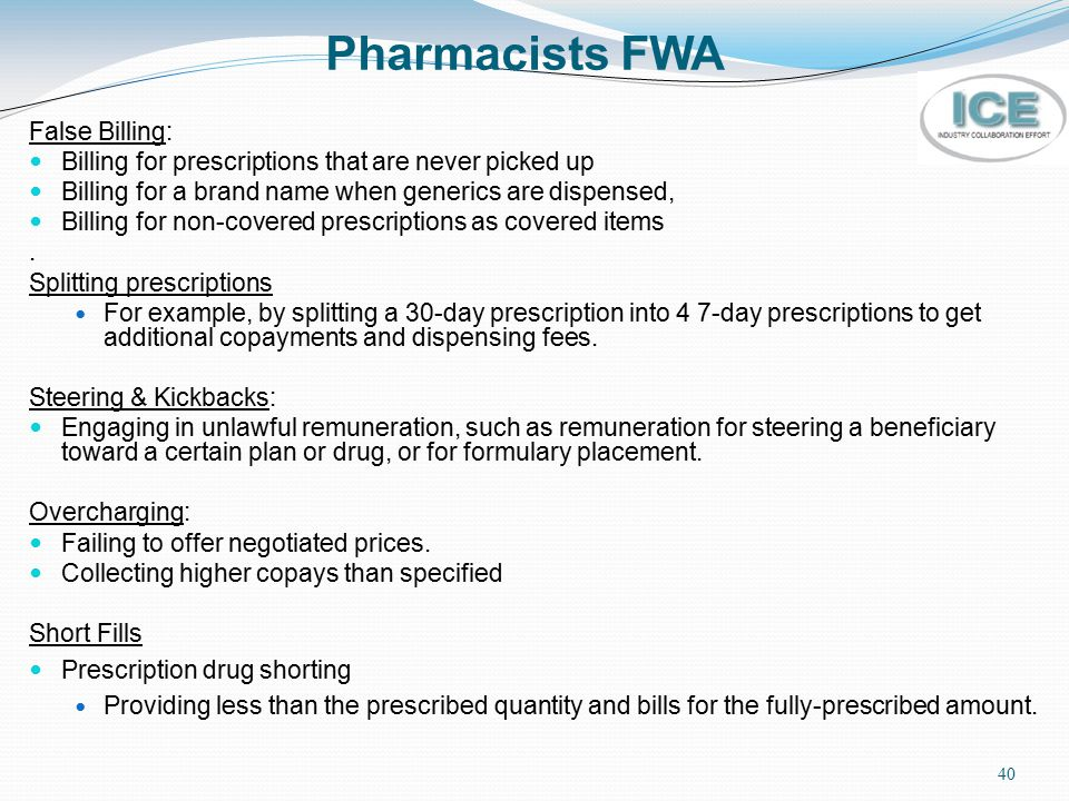 Pharmacists FWA False Billing: